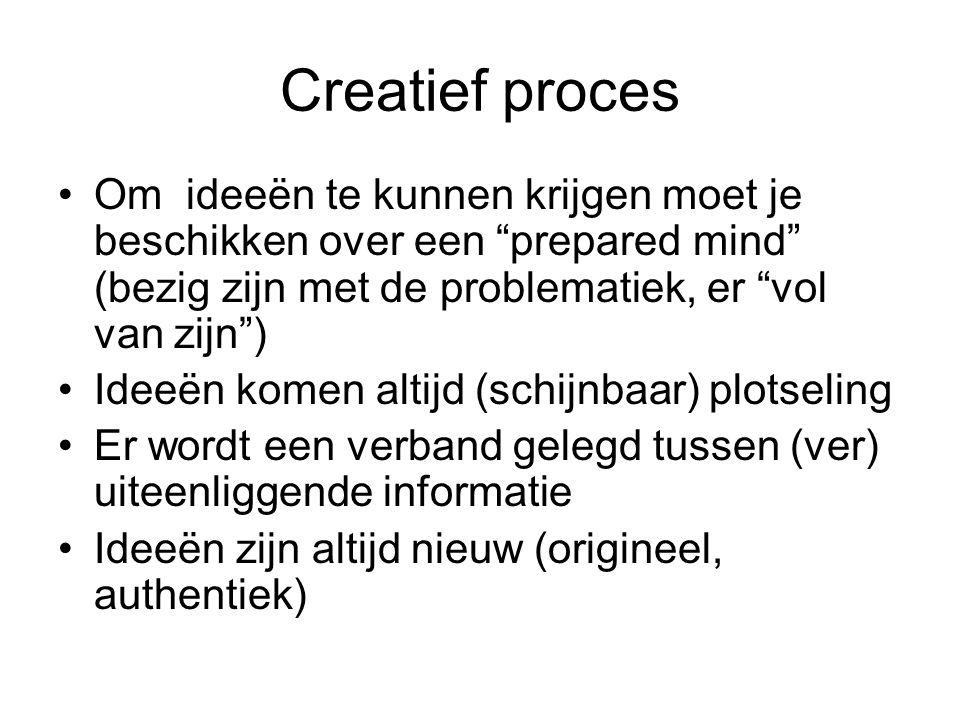 """Creatief proces Om ideeën te kunnen krijgen moet je beschikken over een """"prepared mind"""" (bezig zijn met de problematiek, er """"vol van zijn"""") Ideeën kom"""
