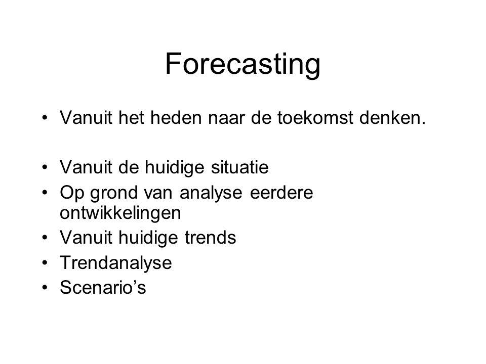 Forecasting Vanuit het heden naar de toekomst denken. Vanuit de huidige situatie Op grond van analyse eerdere ontwikkelingen Vanuit huidige trends Tre