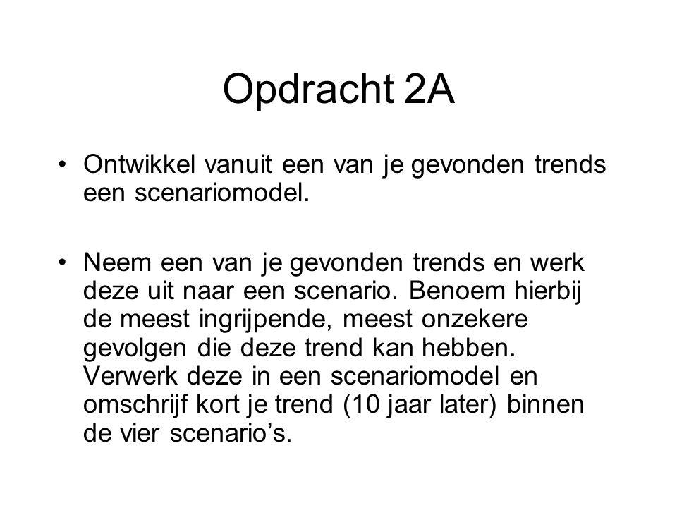 Opdracht 2A Ontwikkel vanuit een van je gevonden trends een scenariomodel.