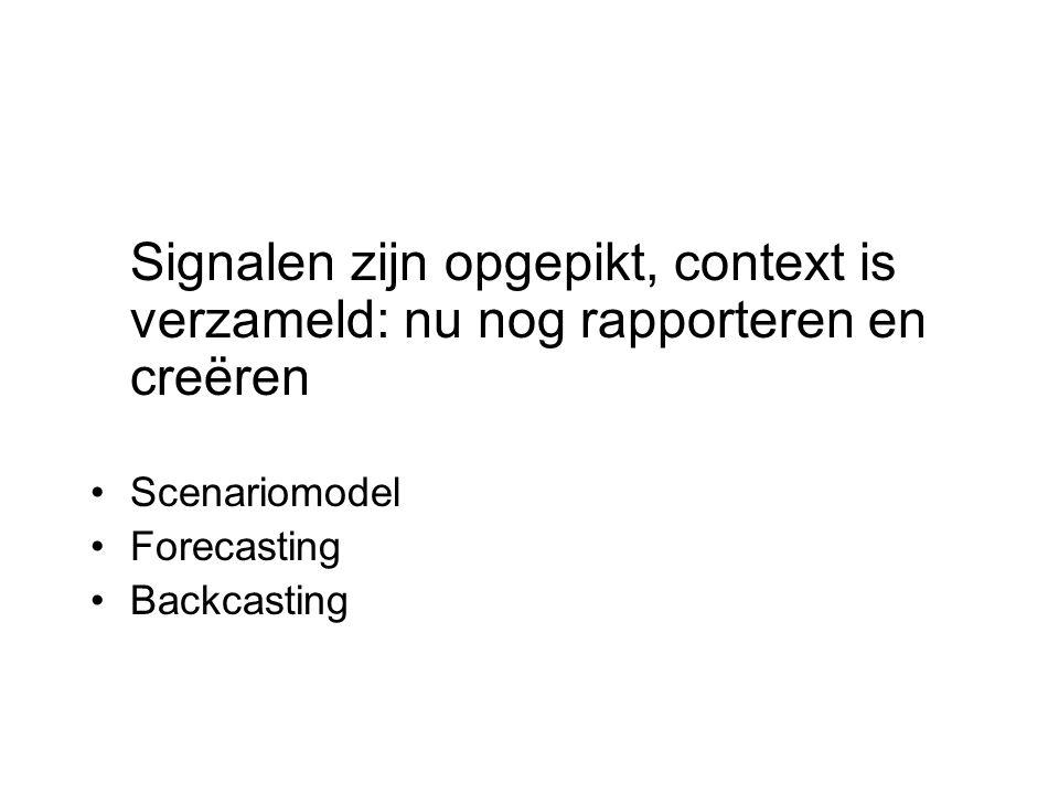 Signalen zijn opgepikt, context is verzameld: nu nog rapporteren en creëren Scenariomodel Forecasting Backcasting