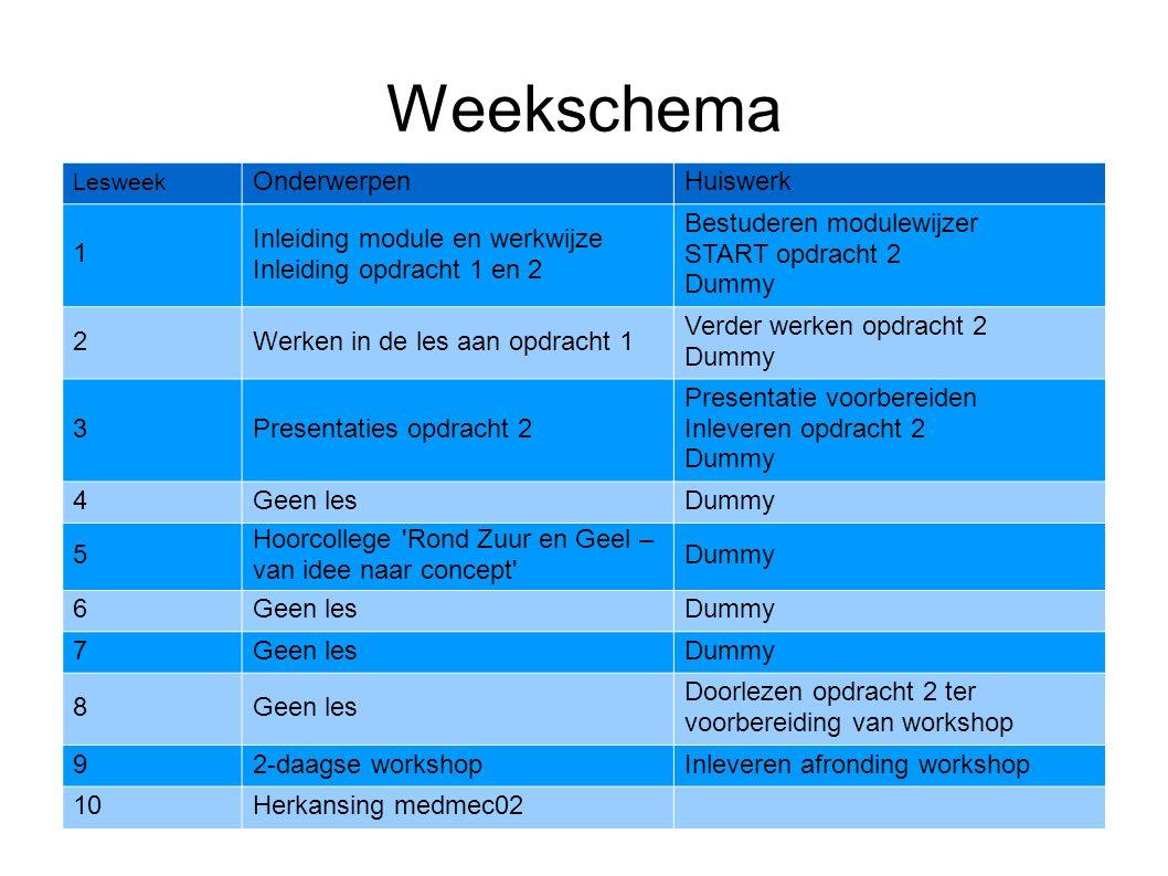 Weekschema Lesweek OnderwerpenHuiswerk 1 Inleiding module en werkwijze Inleiding opdracht 1 en 2 Bestuderen modulewijzer START opdracht 2 Dummy 2Werke