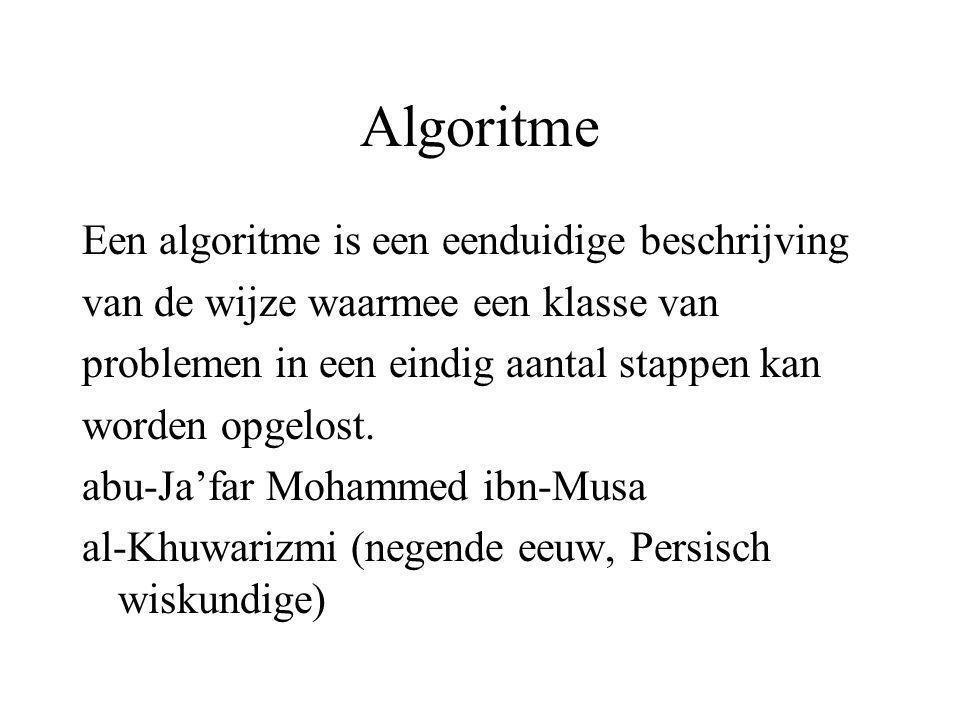 Algoritme Een algoritme is een eenduidige beschrijving van de wijze waarmee een klasse van problemen in een eindig aantal stappen kan worden opgelost.