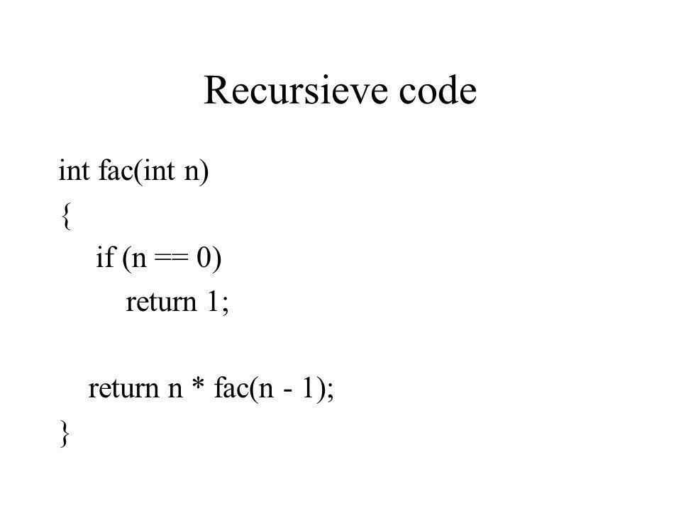 Recursieve code int fac(int n) { if (n == 0) return 1; return n * fac(n - 1); }