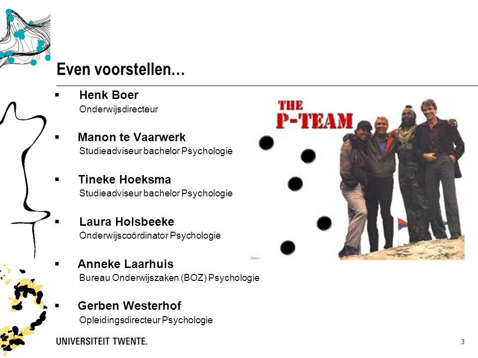 3 Even voorstellen…  Henk Boer Onderwijsdirecteur  Manon te Vaarwerk Studieadviseur bachelor Psychologie  Tineke Hoeksma Studieadviseur bachelor Ps