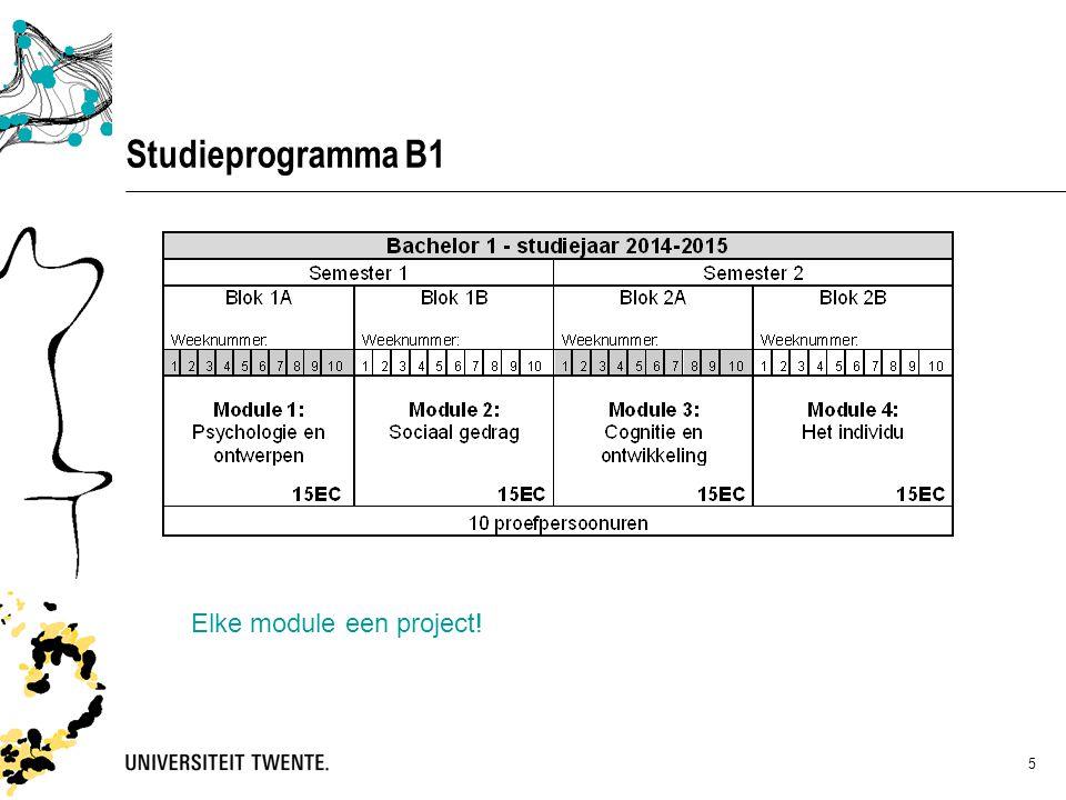 5 Studieprogramma B1 Elke module een project!