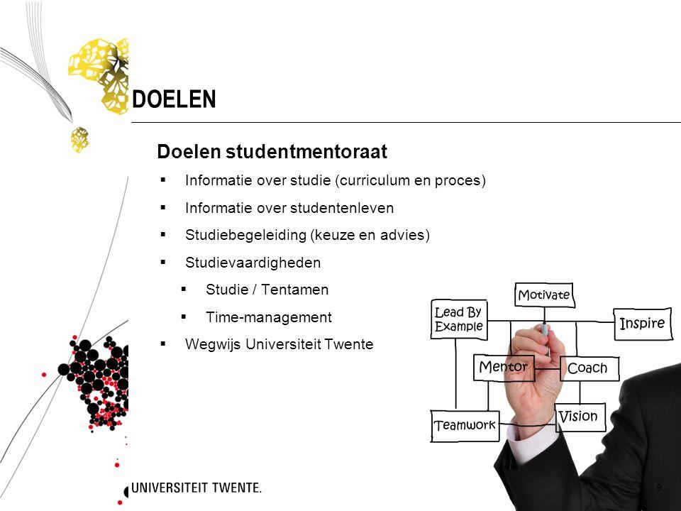 Doelen studentmentoraat  Informatie over studie (curriculum en proces)  Informatie over studentenleven  Studiebegeleiding (keuze en advies)  Studi