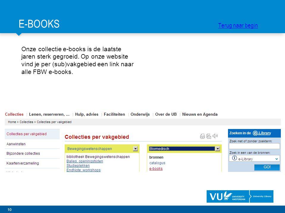 10 Onze collectie e-books is de laatste jaren sterk gegroeid. Op onze website vind je per (sub)vakgebied een link naar alle FBW e-books. E-BOOKS Terug