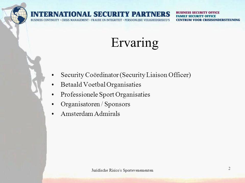 2 Ervaring Security Coördinator (Security Liaison Officer) Betaald Voetbal Organisaties Professionele Sport Organisaties Organisatoren / Sponsors Amsterdam Admirals