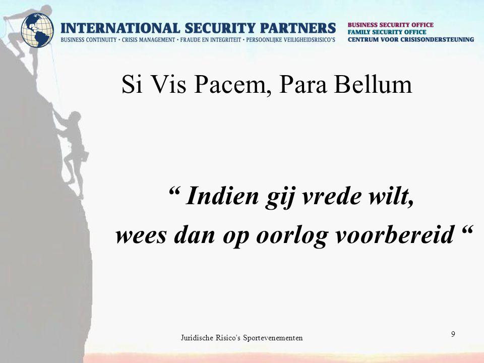 Juridische Risico s Sportevenementen 9 Si Vis Pacem, Para Bellum Indien gij vrede wilt, wees dan op oorlog voorbereid