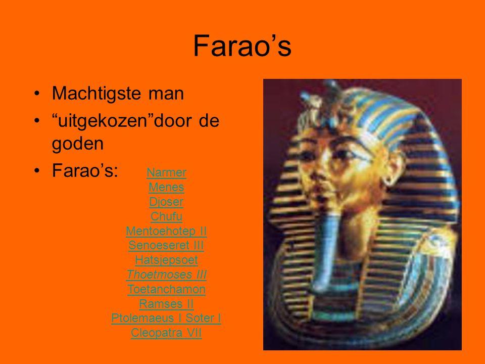 """Farao's Machtigste man """"uitgekozen""""door de goden Farao's: Narmer Menes Djoser Chufu Mentoehotep II Senoeseret III Hatsjepsoet Thoetmoses III Toetancha"""