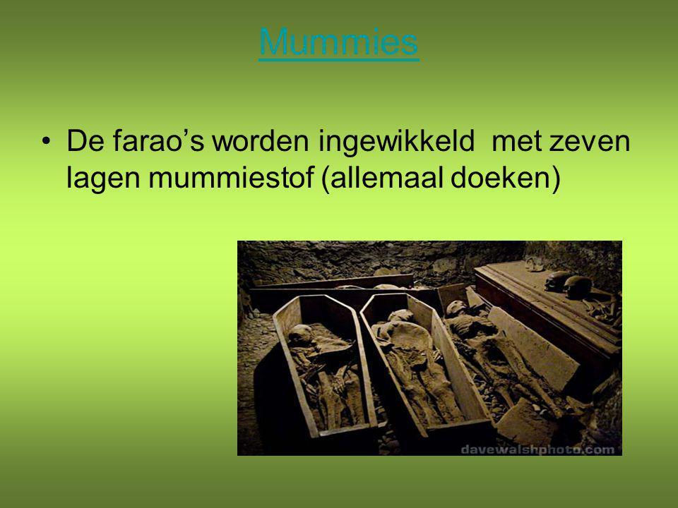 Mummies De farao's worden ingewikkeld met zeven lagen mummiestof (allemaal doeken)