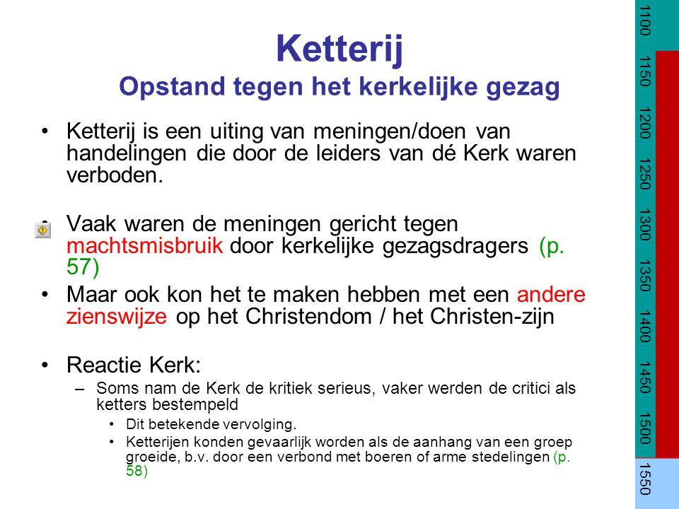Ketterij Opstand tegen het kerkelijke gezag Ketterij is een uiting van meningen/doen van handelingen die door de leiders van dé Kerk waren verboden. V