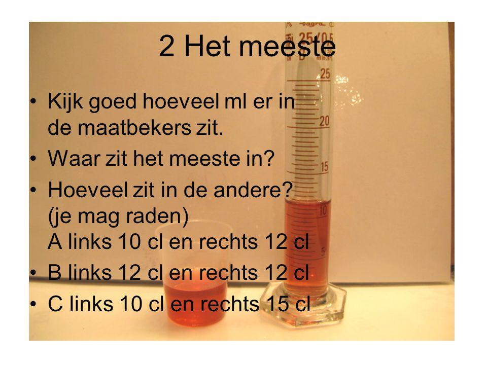 Metriek: 1 hl = 10 dal = 100 l = 1000 dl = 10.000 cl = 100.000 ml 1dal = 10 l = 100 dl = 1000 cl = 10.000 ml 1l = 10 dl = 100 cl = 1000 ml 1 dl = 10 cl = 100 ml 1hl = 1 hectoliter 1dal = 1 decaliter 1 l = 1 liter 1dl = 1 deciliter 1cl = 1 centiliter 1ml = 1 milliliter = 1 cc