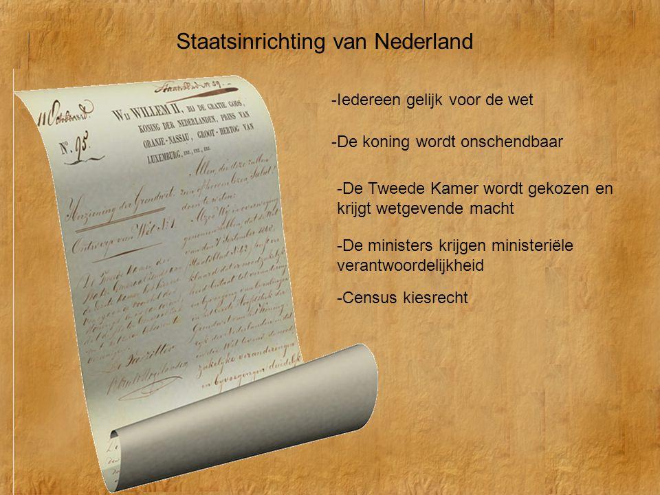 Staatsinrichting van Nederland -Iedereen gelijk voor de wet -De koning wordt onschendbaar -De ministers krijgen ministeriële verantwoordelijkheid -De