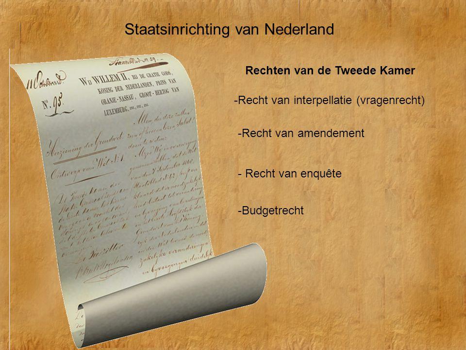 Staatsinrichting van Nederland Rechten van de Tweede Kamer -Recht van interpellatie (vragenrecht) - Recht van enquête -Recht van amendement -Budgetrec
