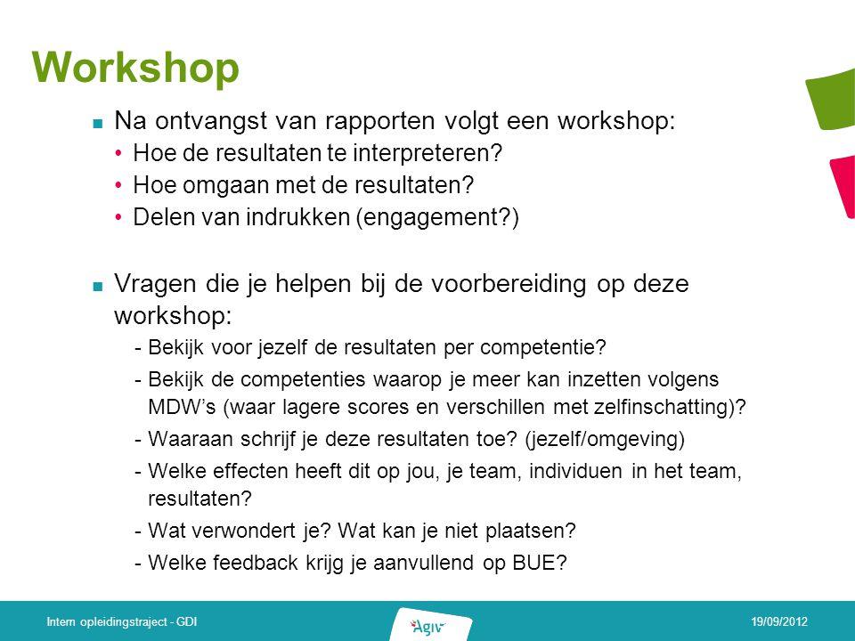 Workshop Na ontvangst van rapporten volgt een workshop: Hoe de resultaten te interpreteren.