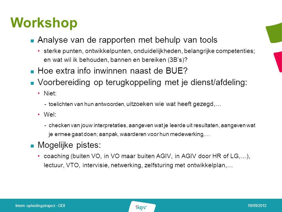 Workshop Analyse van de rapporten met behulp van tools sterke punten, ontwikkelpunten, onduidelijkheden, belangrijke competenties; en wat wil ik behouden, bannen en bereiken (3B's).
