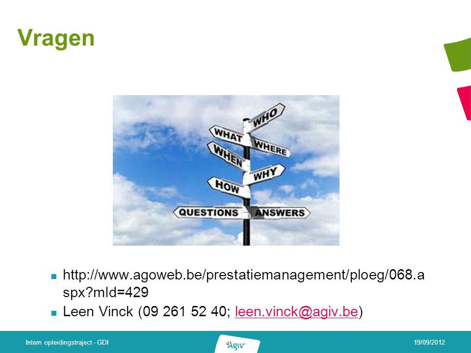 Vragen http://www.agoweb.be/prestatiemanagement/ploeg/068.a spx mId=429 Leen Vinck (09 261 52 40; leen.vinck@agiv.be)leen.vinck@agiv.be 19/09/2012 Intern opleidingstraject - GDI