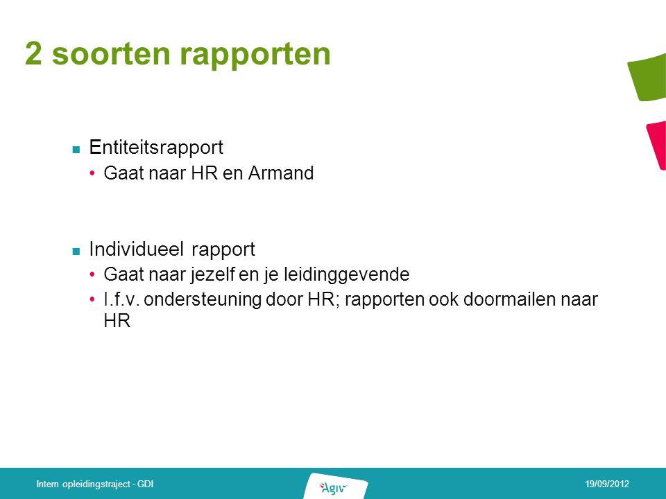 2 soorten rapporten Entiteitsrapport Gaat naar HR en Armand Individueel rapport Gaat naar jezelf en je leidinggevende I.f.v.
