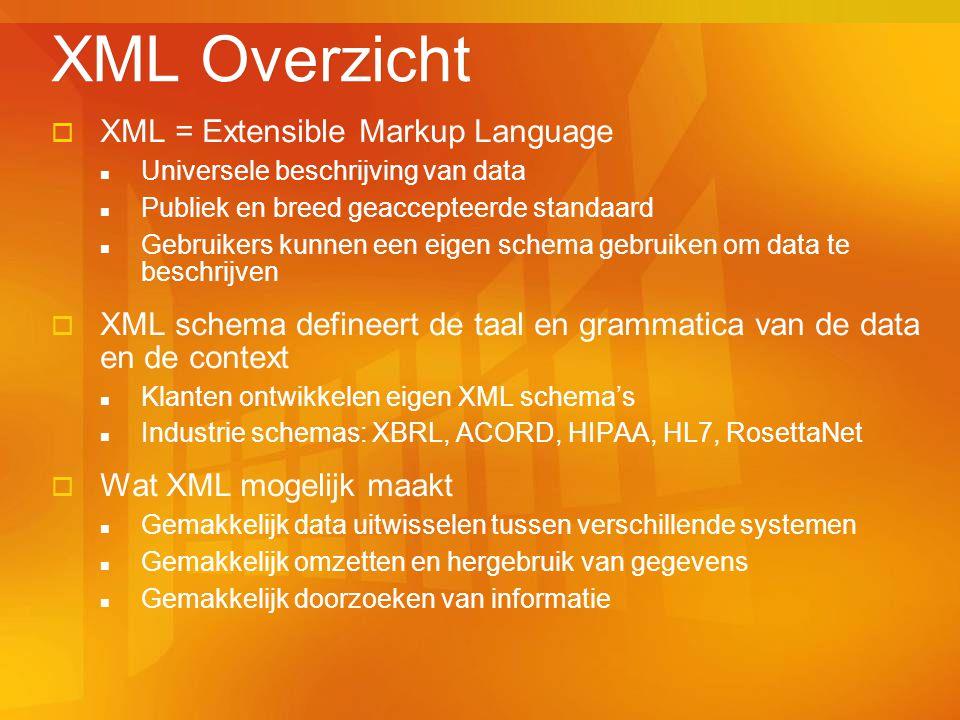  XML = Extensible Markup Language Universele beschrijving van data Publiek en breed geaccepteerde standaard Gebruikers kunnen een eigen schema gebruiken om data te beschrijven  XML schema defineert de taal en grammatica van de data en de context Klanten ontwikkelen eigen XML schema's Industrie schemas: XBRL, ACORD, HIPAA, HL7, RosettaNet  Wat XML mogelijk maakt Gemakkelijk data uitwisselen tussen verschillende systemen Gemakkelijk omzetten en hergebruik van gegevens Gemakkelijk doorzoeken van informatie XML Overzicht