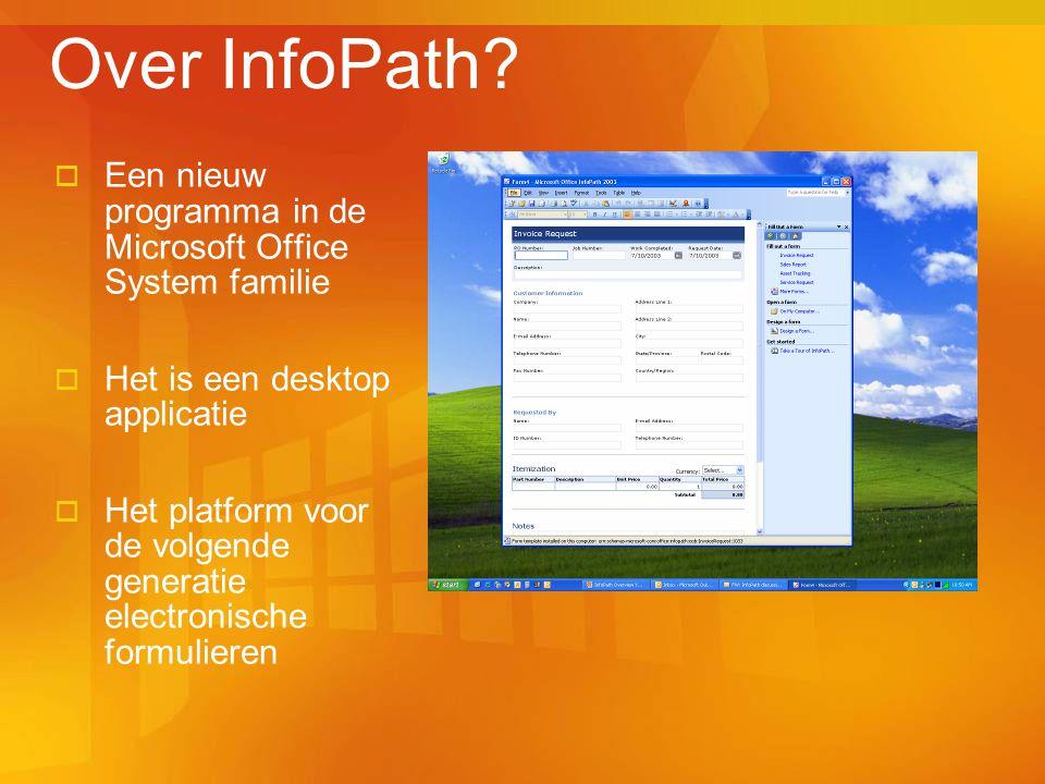 Over InfoPath?  Een nieuw programma in de Microsoft Office System familie  Het is een desktop applicatie  Het platform voor de volgende generatie e