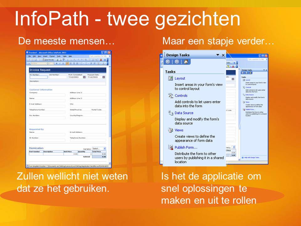 InfoPath - twee gezichten De meeste mensen… Zullen wellicht niet weten dat ze het gebruiken. Maar een stapje verder… Is het de applicatie om snel oplo