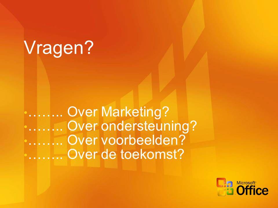 Vragen? …….. Over Marketing? …….. Over ondersteuning? …….. Over voorbeelden? …….. Over de toekomst?