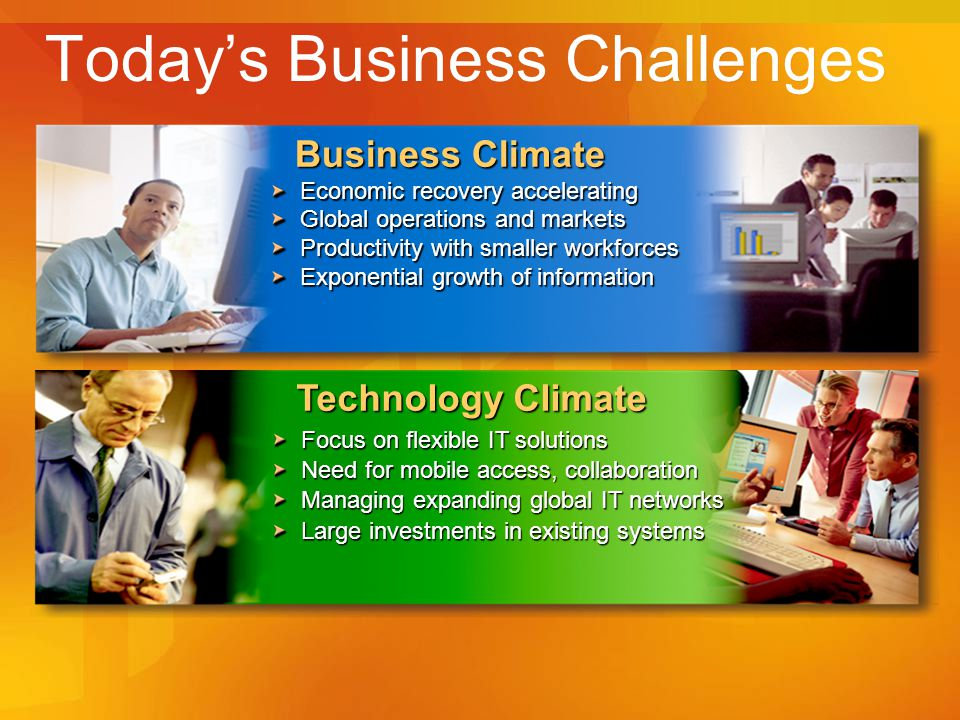 Today's Business Challenges Technology Climate Focus on flexible IT solutions Need for mobile access, collaboration Managing expanding global IT networks Large investments in existing systems Business Climate Economic recovery accelerating Global operations and markets Productivity with smaller workforces Exponential growth of information