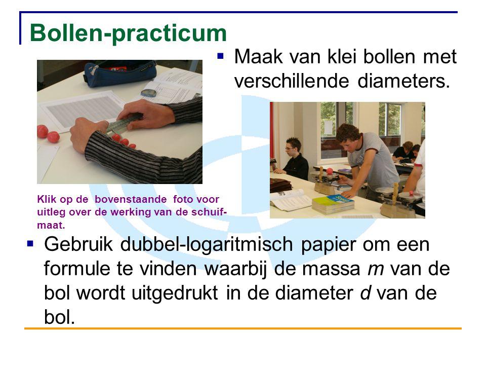 Bollen-practicum  Maak van klei bollen met verschillende diameters.