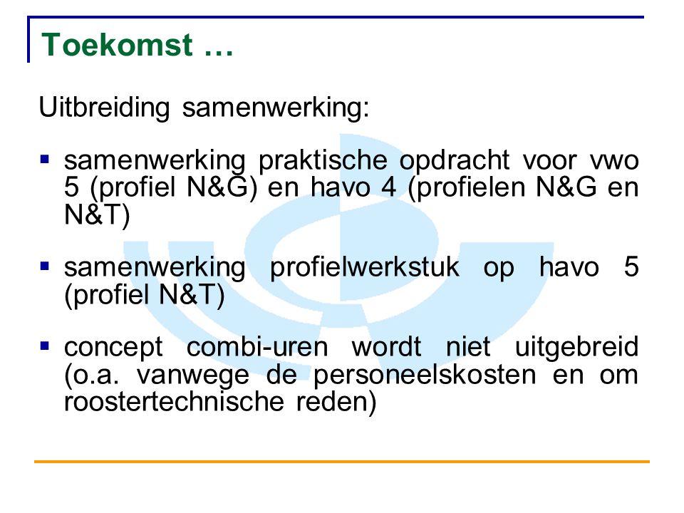 Toekomst … Uitbreiding samenwerking:  samenwerking praktische opdracht voor vwo 5 (profiel N&G) en havo 4 (profielen N&G en N&T)  samenwerking profielwerkstuk op havo 5 (profiel N&T)  concept combi-uren wordt niet uitgebreid (o.a.