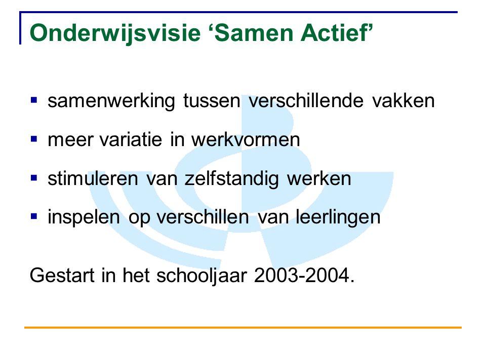 Onderwijsvisie 'Samen Actief'  samenwerking tussen verschillende vakken  meer variatie in werkvormen  stimuleren van zelfstandig werken  inspelen op verschillen van leerlingen Gestart in het schooljaar 2003-2004.