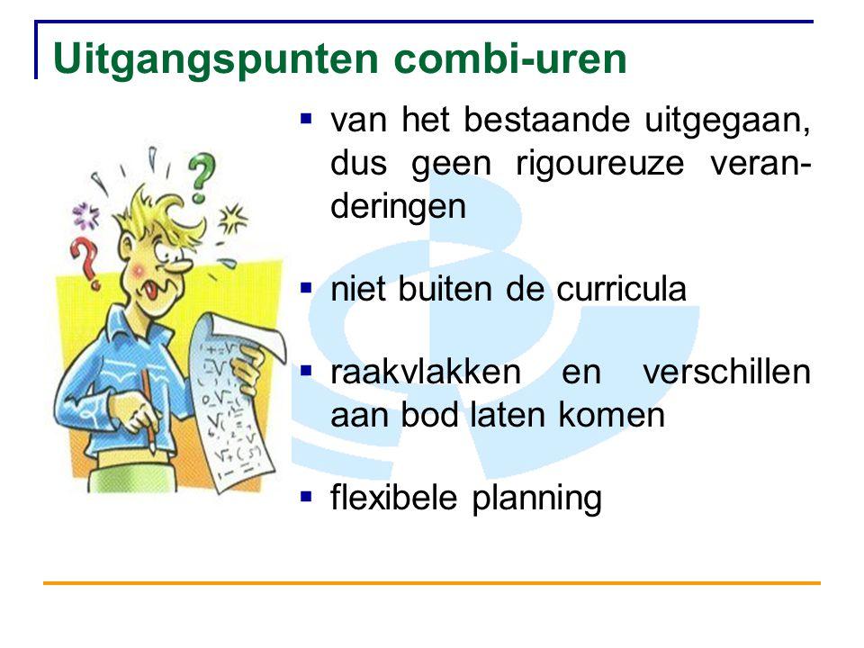 Uitgangspunten combi-uren  van het bestaande uitgegaan, dus geen rigoureuze veran- deringen  niet buiten de curricula  raakvlakken en verschillen aan bod laten komen  flexibele planning