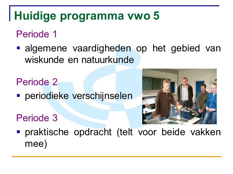 Huidige programma vwo 5 Periode 1  algemene vaardigheden op het gebied van wiskunde en natuurkunde Periode 2  periodieke verschijnselen Periode 3 
