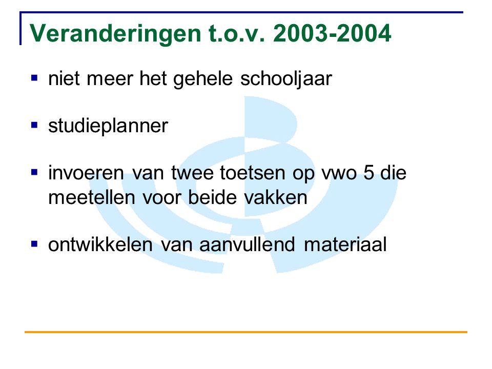 Veranderingen t.o.v. 2003-2004  niet meer het gehele schooljaar  studieplanner  invoeren van twee toetsen op vwo 5 die meetellen voor beide vakken
