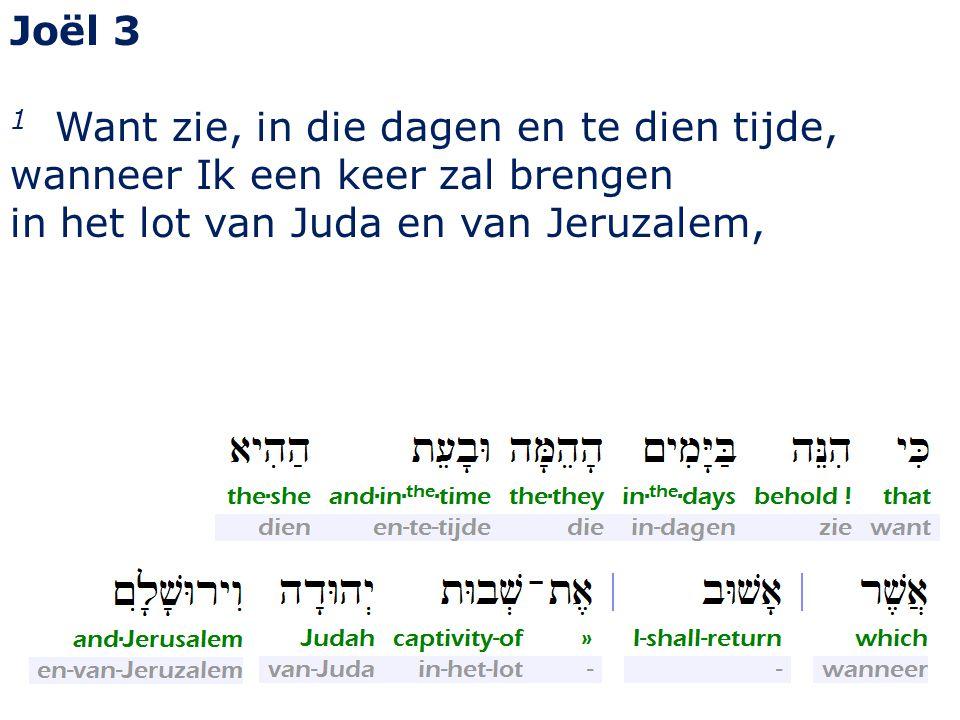 Joël 3 1 Want zie, in die dagen en te dien tijde, wanneer Ik een keer zal brengen in het lot van Juda en van Jeruzalem,