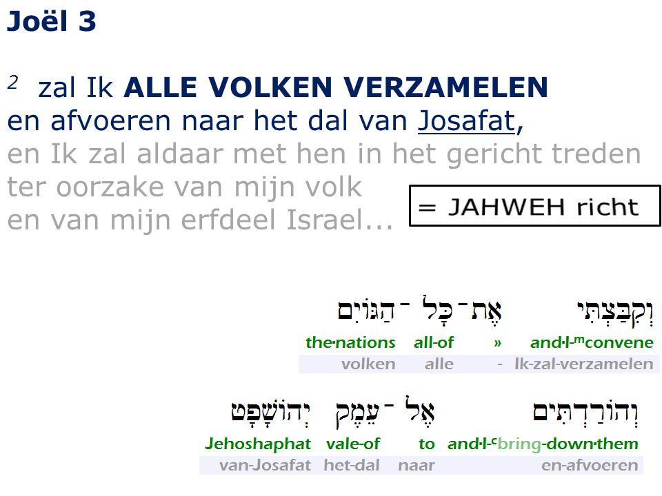 Joël 3 2 zal Ik ALLE VOLKEN VERZAMELEN en afvoeren naar het dal van Josafat, en Ik zal aldaar met hen in het gericht treden ter oorzake van mijn volk en van mijn erfdeel Israel...
