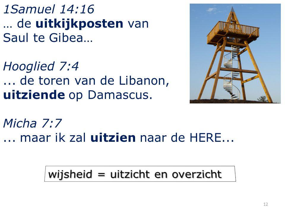 1Samuel 14:16 … de uitkijkposten van Saul te Gibea… Hooglied 7:4... de toren van de Libanon, uitziende op Damascus. Micha 7:7... maar ik zal uitzien n