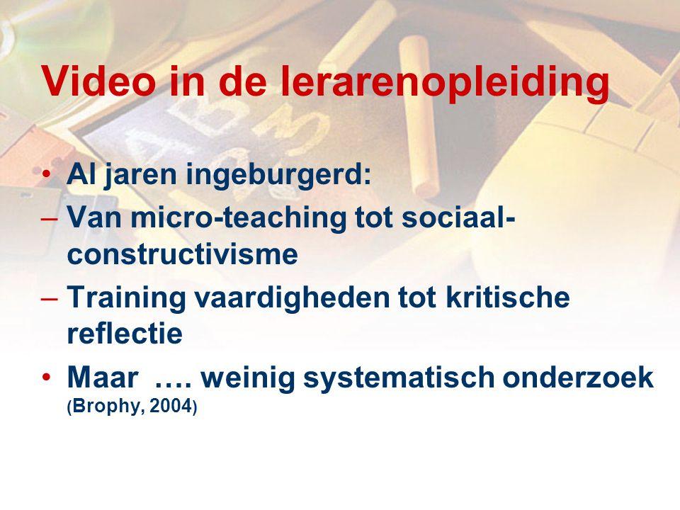 Video in de lerarenopleiding Al jaren ingeburgerd: –Van micro-teaching tot sociaal- constructivisme –Training vaardigheden tot kritische reflectie Maar ….