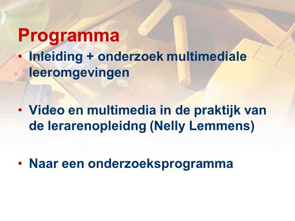 Programma Inleiding + onderzoek multimediale leeromgevingen Video en multimedia in de praktijk van de lerarenopleidng (Nelly Lemmens) Naar een onderzoeksprogramma