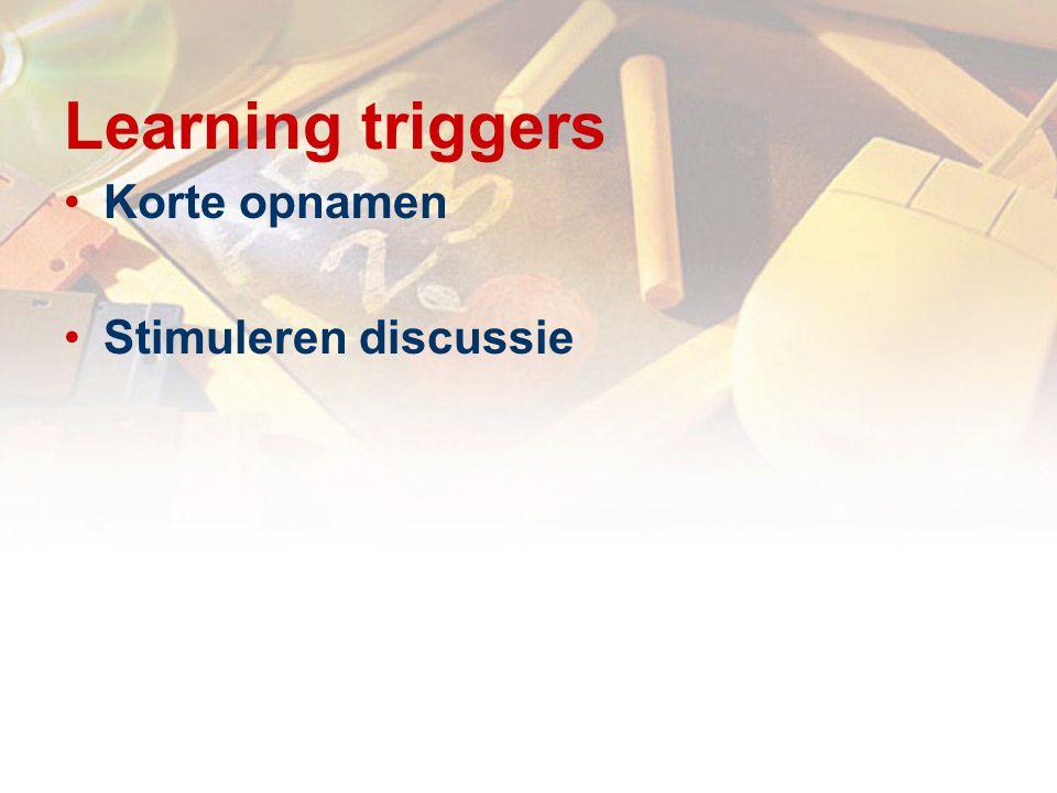 Typen video Learning triggers Voorbeeld praktijken Eigen opnamen