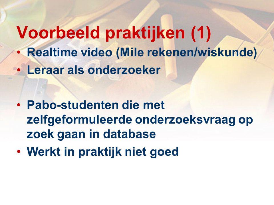 Voorbeeld praktijken (1) Realtime video (Mile rekenen/wiskunde) Leraar als onderzoeker Pabo-studenten die met zelfgeformuleerde onderzoeksvraag op zoek gaan in database Werkt in praktijk niet goed