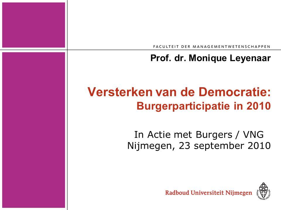 Versterken van de Democratie: Burgerparticipatie in 2010 Prof. dr. Monique Leyenaar In Actie met Burgers / VNG Nijmegen, 23 september 2010