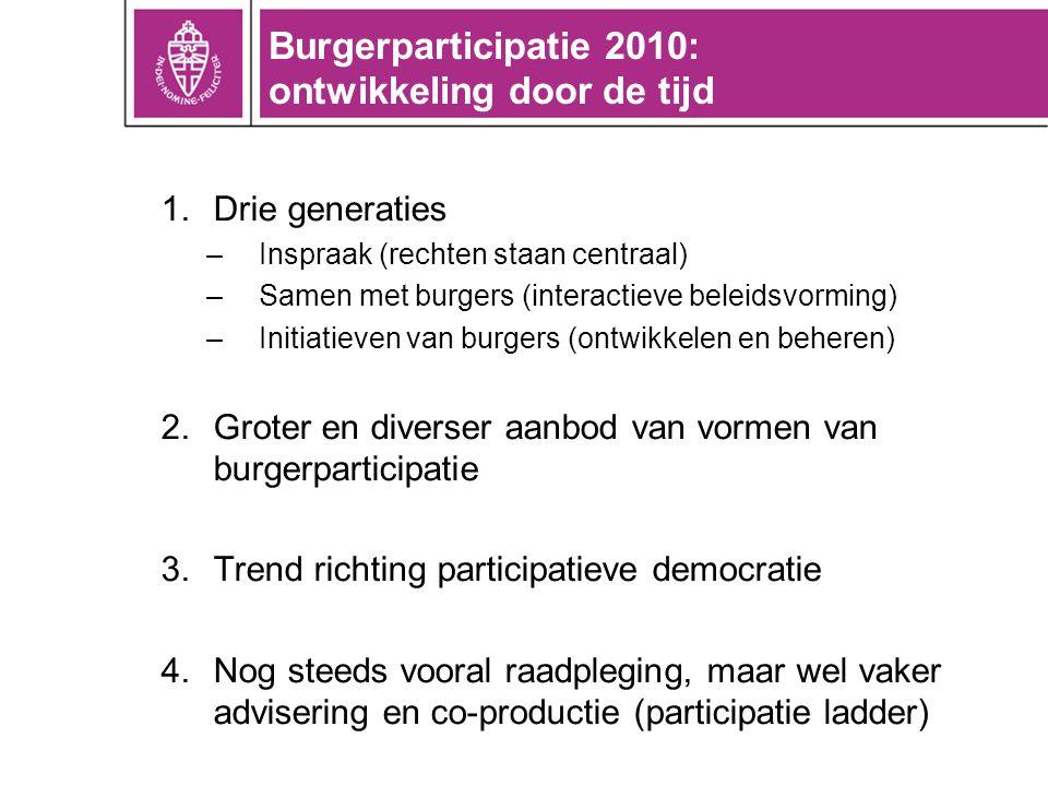Burgerparticipatie 2010: ontwikkeling door de tijd 1.Drie generaties –Inspraak (rechten staan centraal) –Samen met burgers (interactieve beleidsvormin