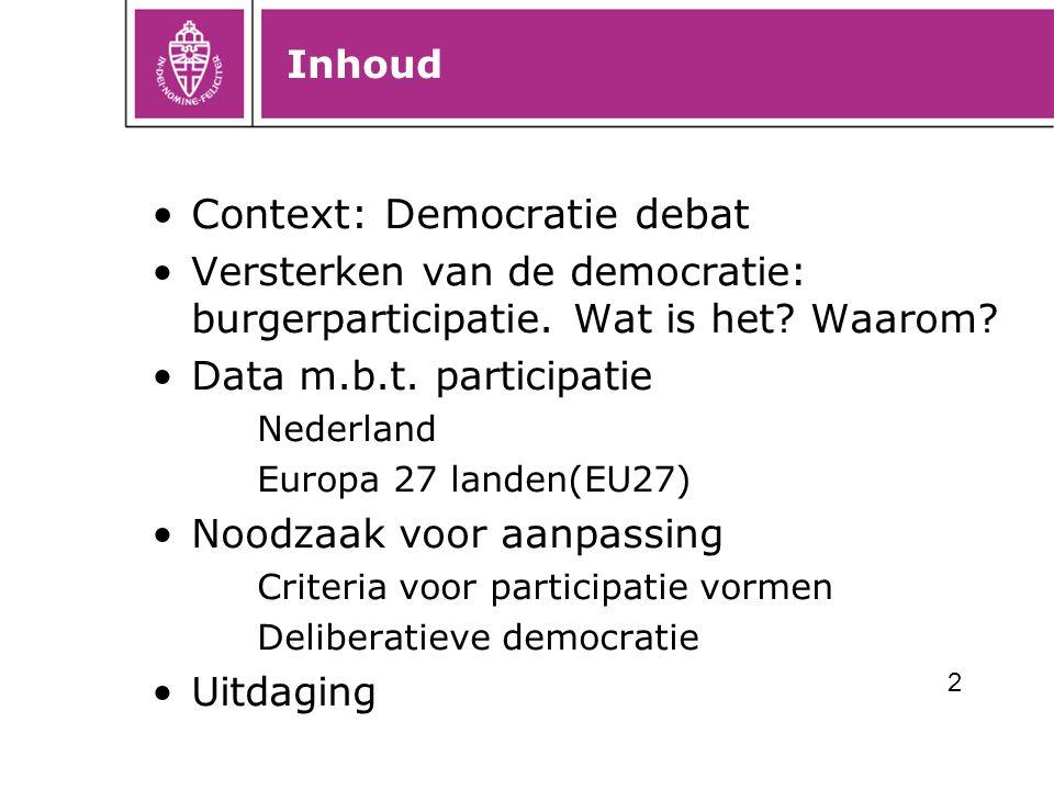 Inhoud Context: Democratie debat Versterken van de democratie: burgerparticipatie. Wat is het? Waarom? Data m.b.t. participatie Nederland Europa 27 la