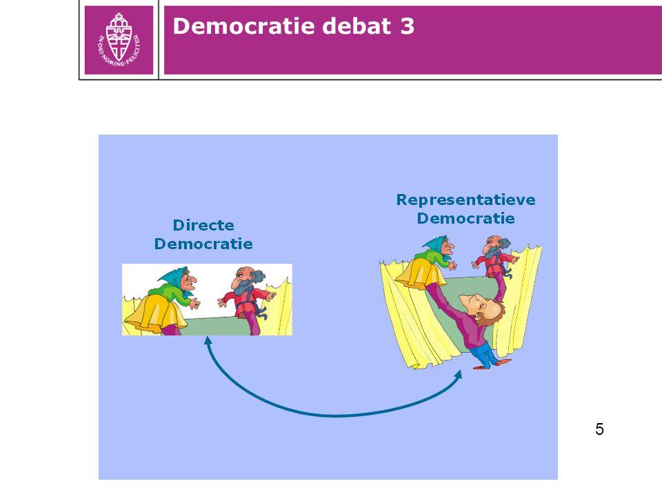 Burgerparticipatie 2010: ontwikkeling door de tijd 1.Drie generaties –Inspraak (rechten staan centraal) –Samen met burgers (interactieve beleidsvorming) –Initiatieven van burgers (ontwikkelen en beheren) 2.Groter en diverser aanbod van vormen van burgerparticipatie 3.Trend richting participatieve democratie 4.Nog steeds vooral raadpleging, maar wel vaker advisering en co-productie (participatie ladder)