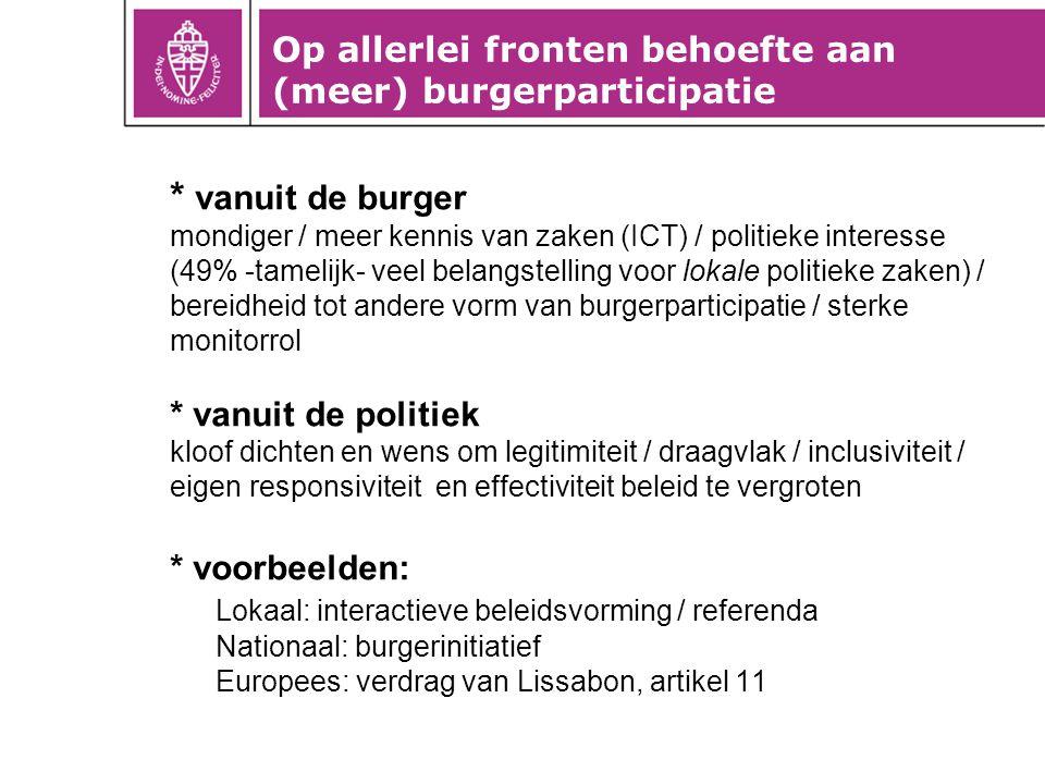 * vanuit de burger mondiger / meer kennis van zaken (ICT) / politieke interesse (49% -tamelijk- veel belangstelling voor lokale politieke zaken) / ber