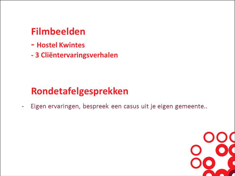 Filmbeelden - Hostel Kwintes - 3 Cliëntervaringsverhalen Rondetafelgesprekken -Eigen ervaringen, bespreek een casus uit je eigen gemeente..