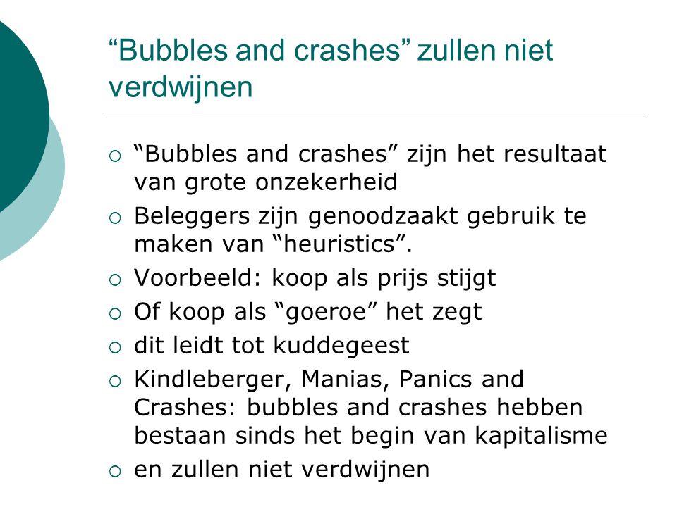 Bubbles and crashes zullen niet verdwijnen  Bubbles and crashes zijn het resultaat van grote onzekerheid  Beleggers zijn genoodzaakt gebruik te maken van heuristics .