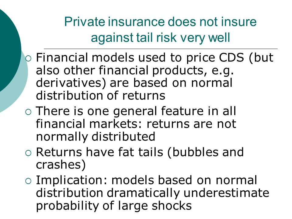 Private insurance does not insure against tail risk very well  Financial models used to price CDS (but also other financial products, e.g. derivative