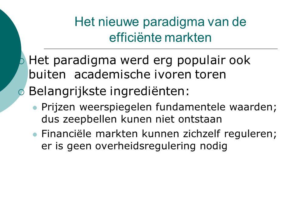 Het nieuwe paradigma van de efficiënte markten  Het paradigma werd erg populair ook buiten academische ivoren toren  Belangrijkste ingrediënten: Prijzen weerspiegelen fundamentele waarden; dus zeepbellen kunen niet ontstaan Financiële markten kunnen zichzelf reguleren; er is geen overheidsregulering nodig